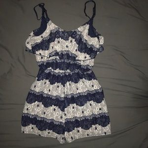 A blue and white romper